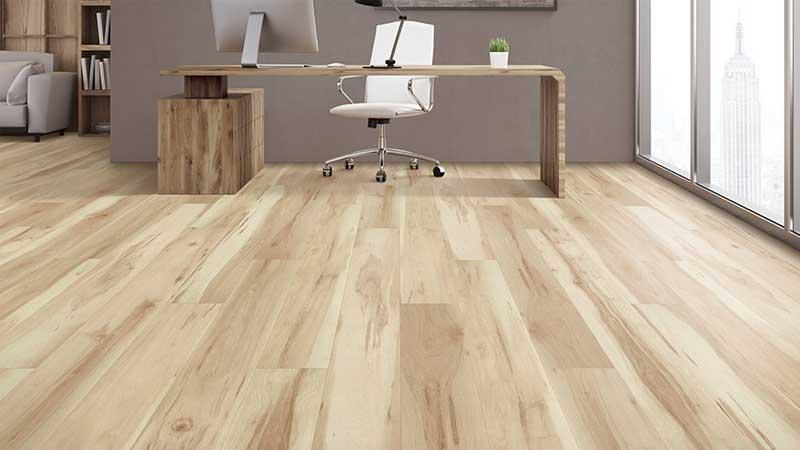 ruang kerja minimalis pakai lantai vinyl sintetis