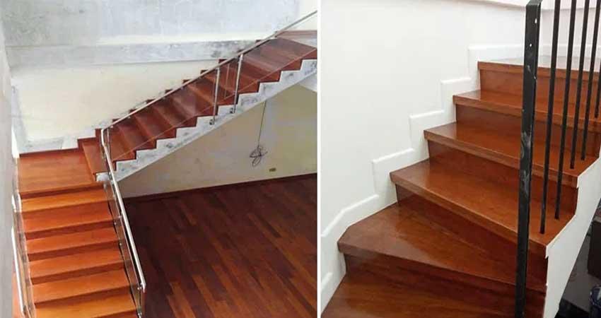 hasil pemasangan papan tangga kayu