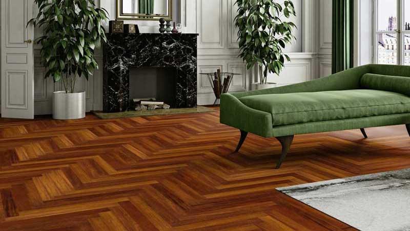 contoh penampilan lantai kayu merbau terpasang