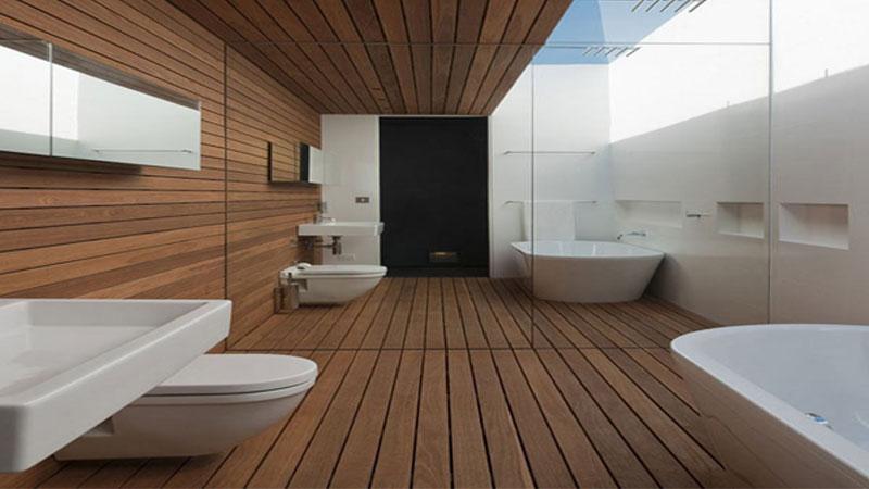 rekomendasi lantai kayu kamar mandi minimalis