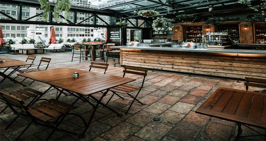 Desain lantai batu rooftop restaurant