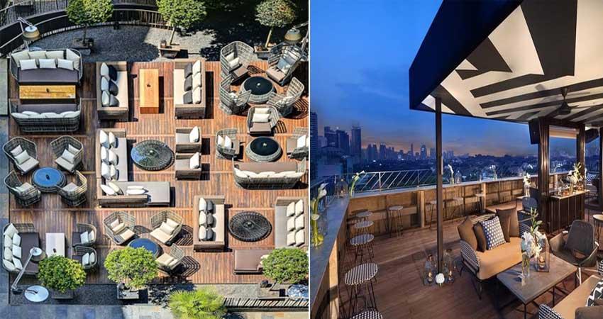 Desain rooftop restoran minimalis