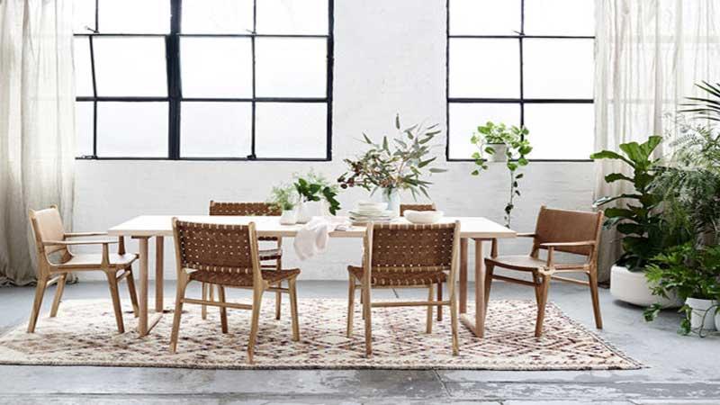 menaruh tanaman hijau di ruang makan