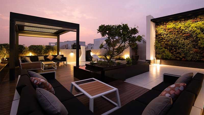 percantik tampilan rooftop hunian dengan lampu-lampu