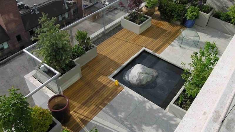 membuat kolam ikan minimalis di area rooftop