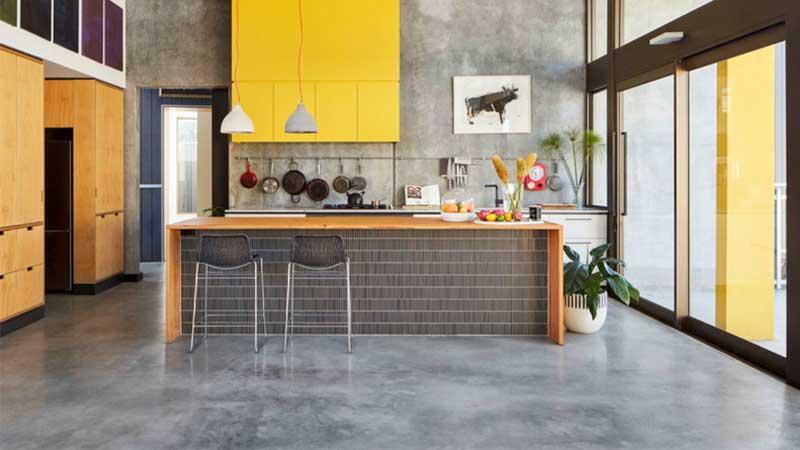 ruang dapur menggunakan lantai beton