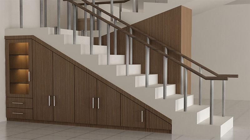 desain lemari bawah tangga rumah minimalis