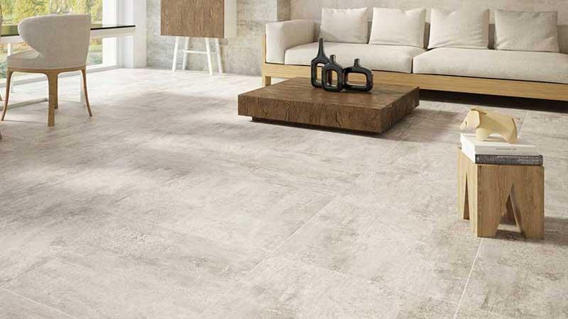 inspirasi lantai granit pada ruang tamu minimalis